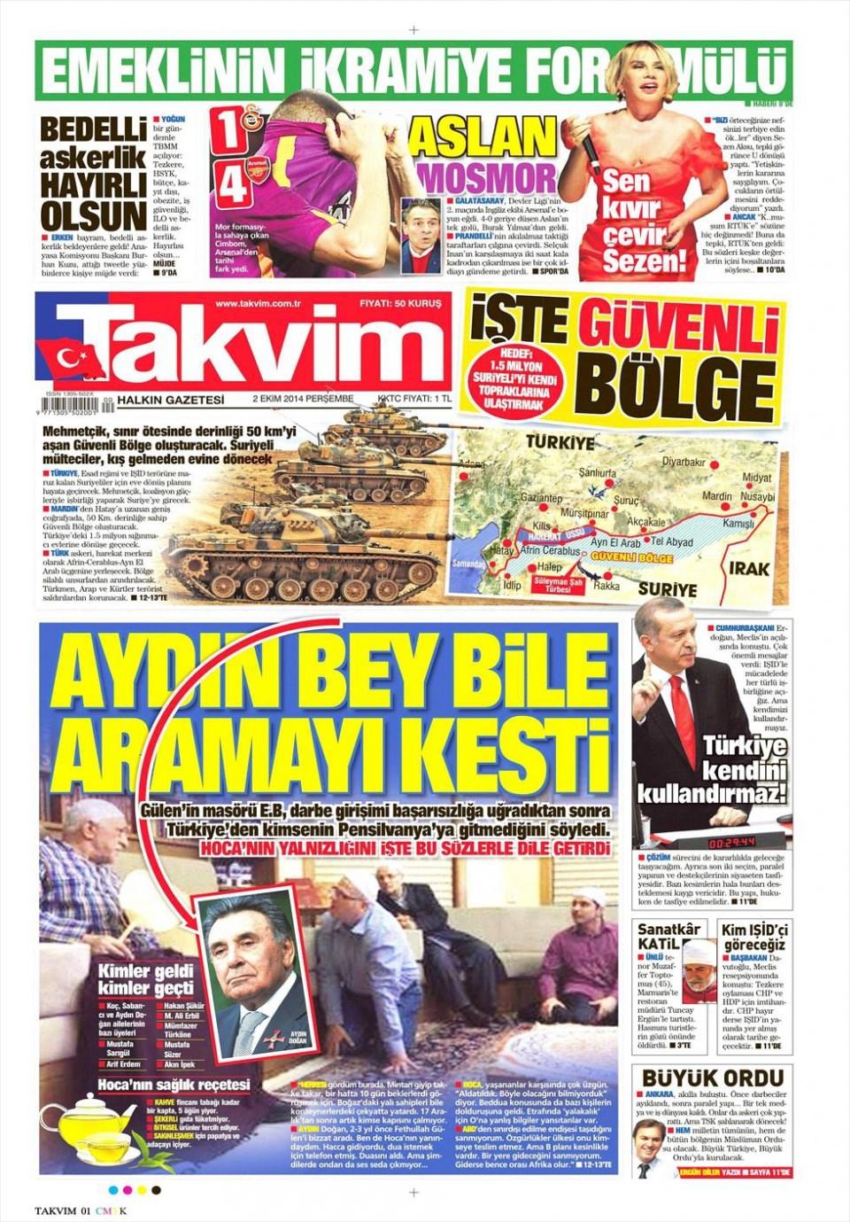 2 Ekim 2014 gazete manşetleri 18