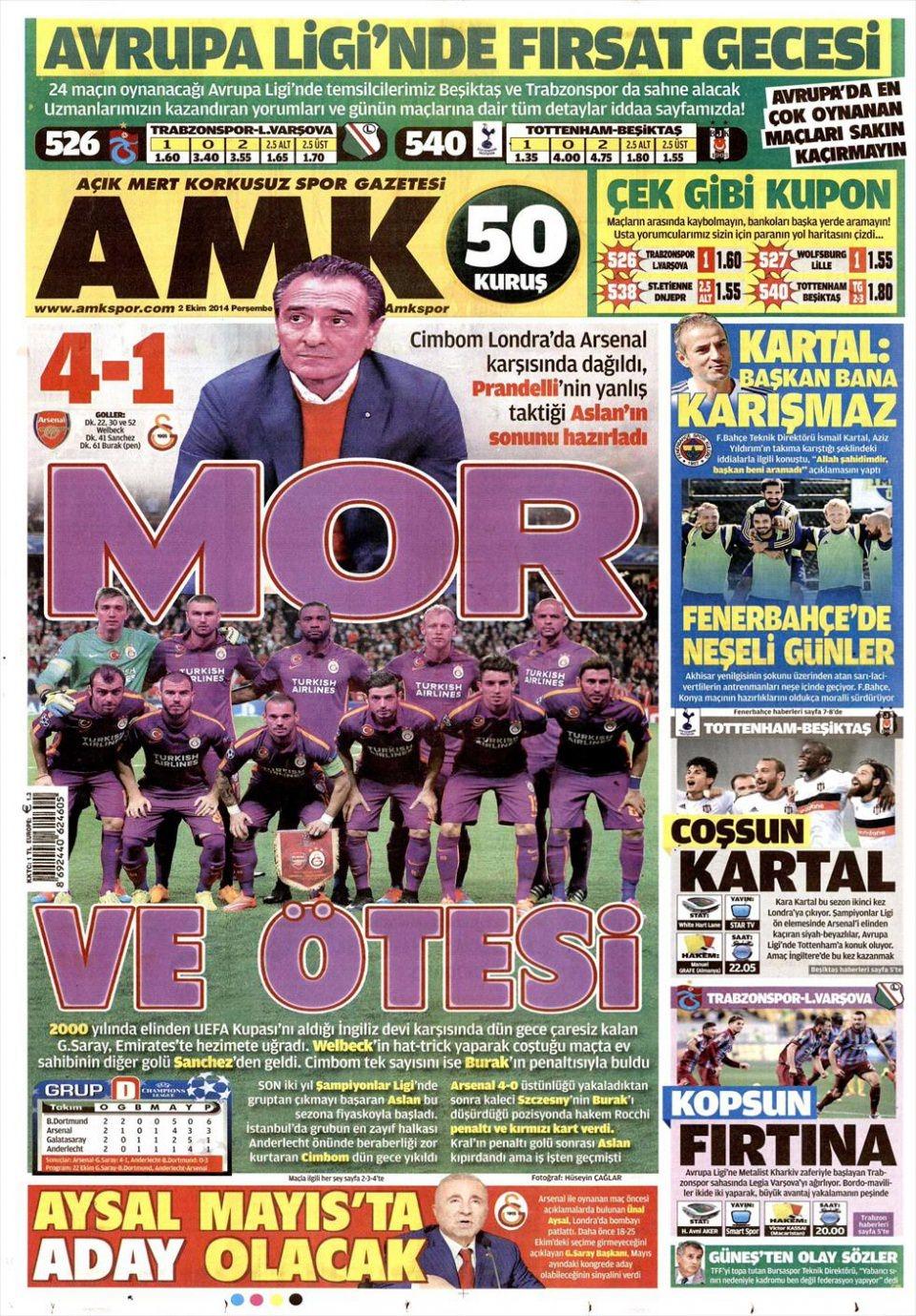 2 Ekim 2014 gazete manşetleri 2