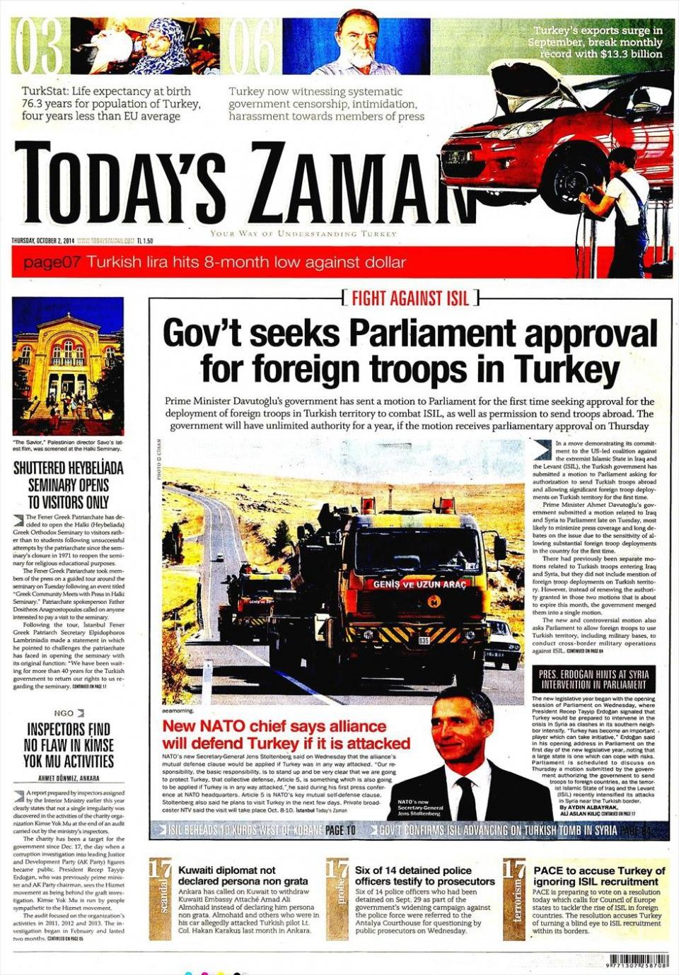 2 Ekim 2014 gazete manşetleri 20