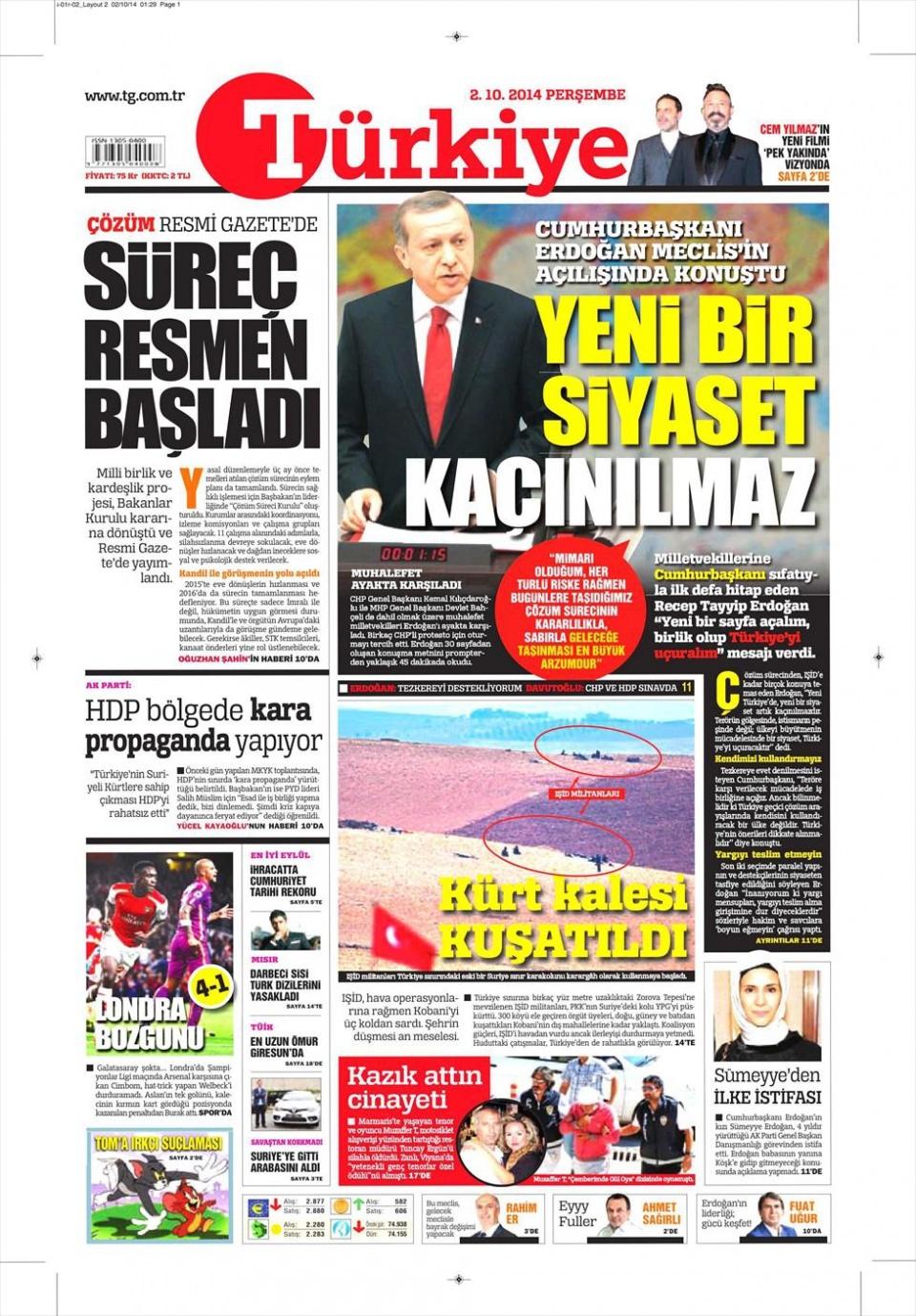 2 Ekim 2014 gazete manşetleri 21