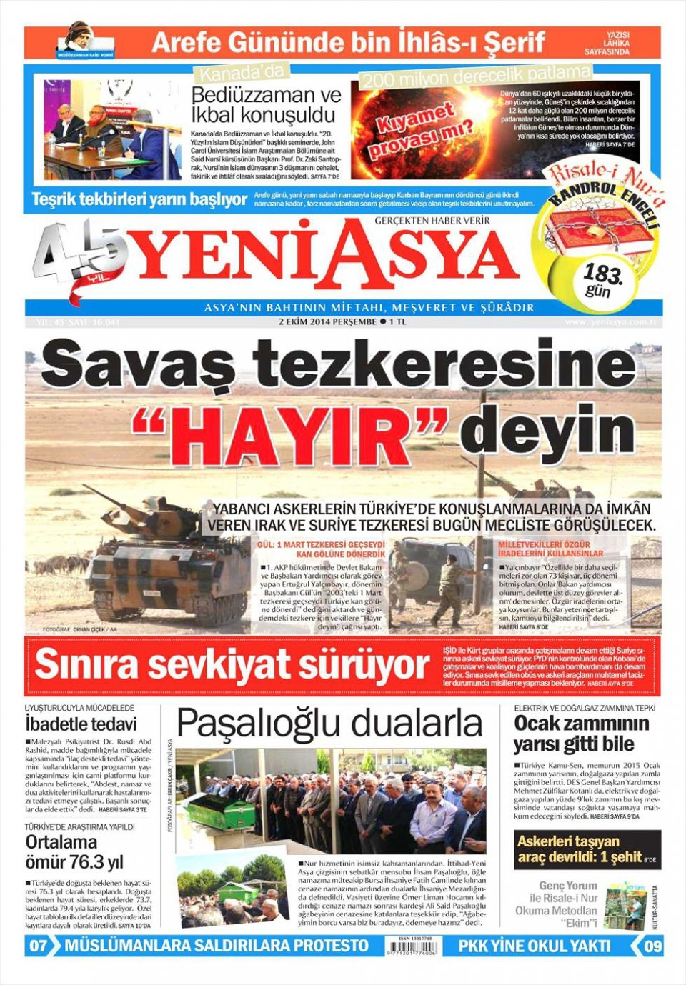 2 Ekim 2014 gazete manşetleri 24