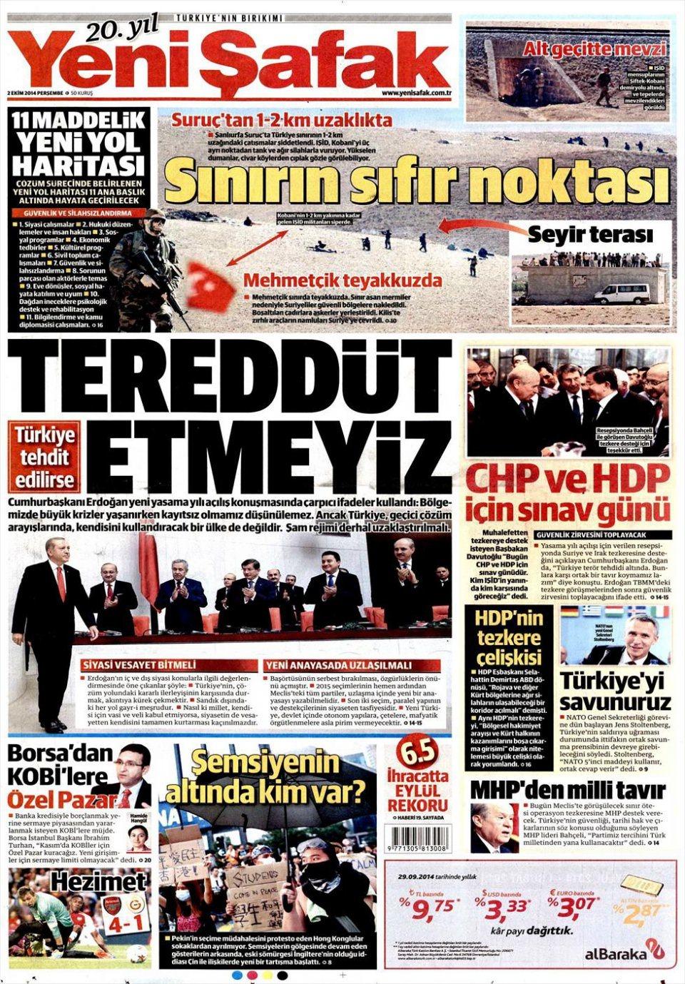 2 Ekim 2014 gazete manşetleri 25