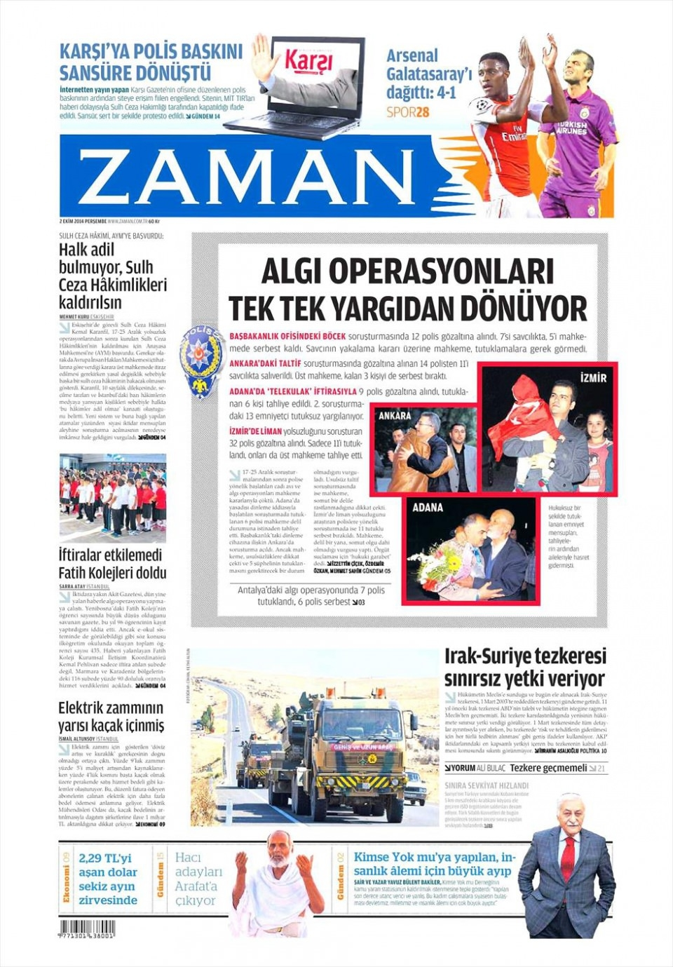 2 Ekim 2014 gazete manşetleri 26