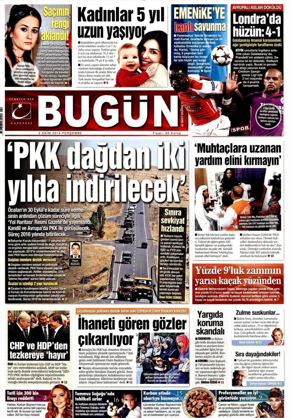 2 Ekim 2014 gazete manşetleri 3