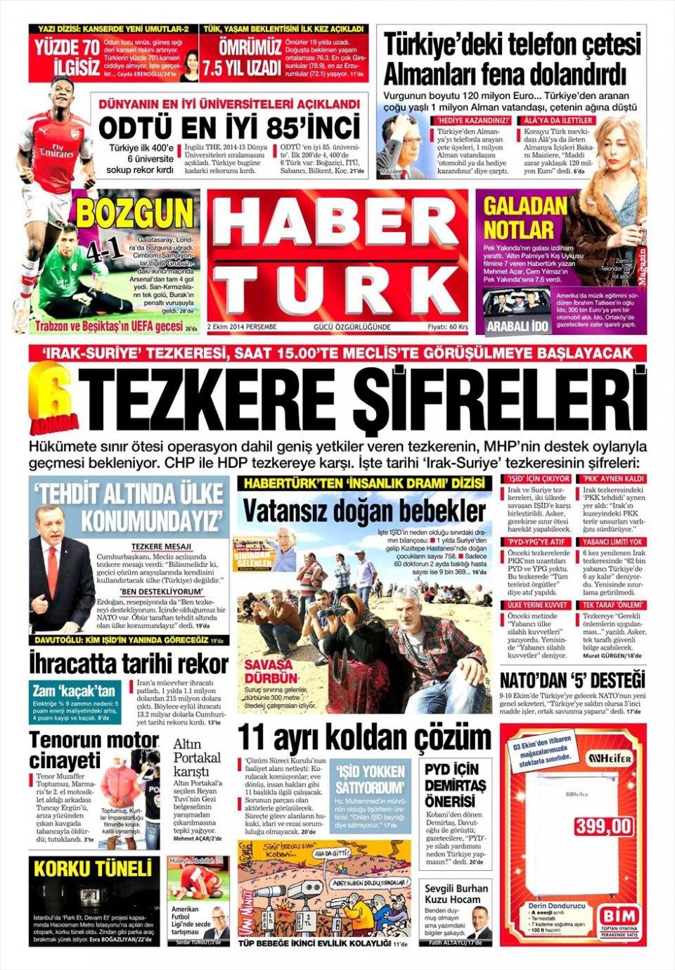 2 Ekim 2014 gazete manşetleri 9