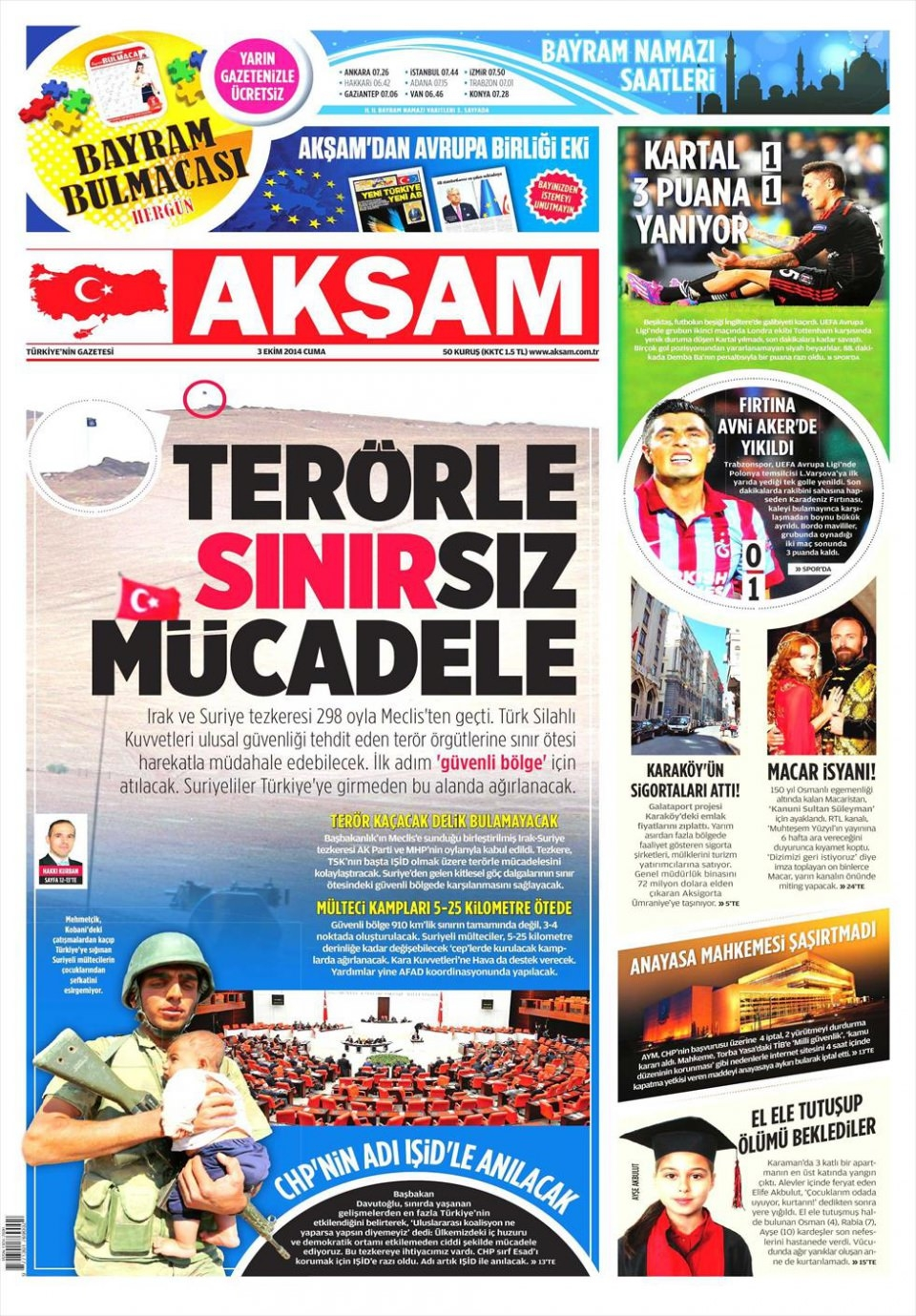 3 Ekim 2014 gazete manşetleri 1