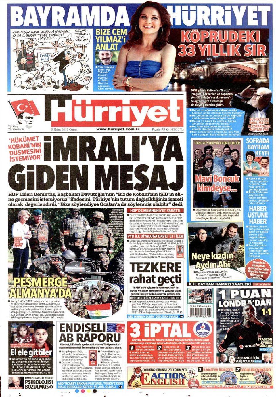 3 Ekim 2014 gazete manşetleri 10