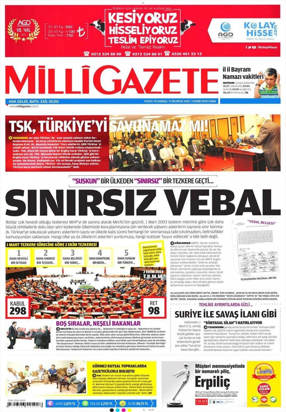 3 Ekim 2014 gazete manşetleri 11