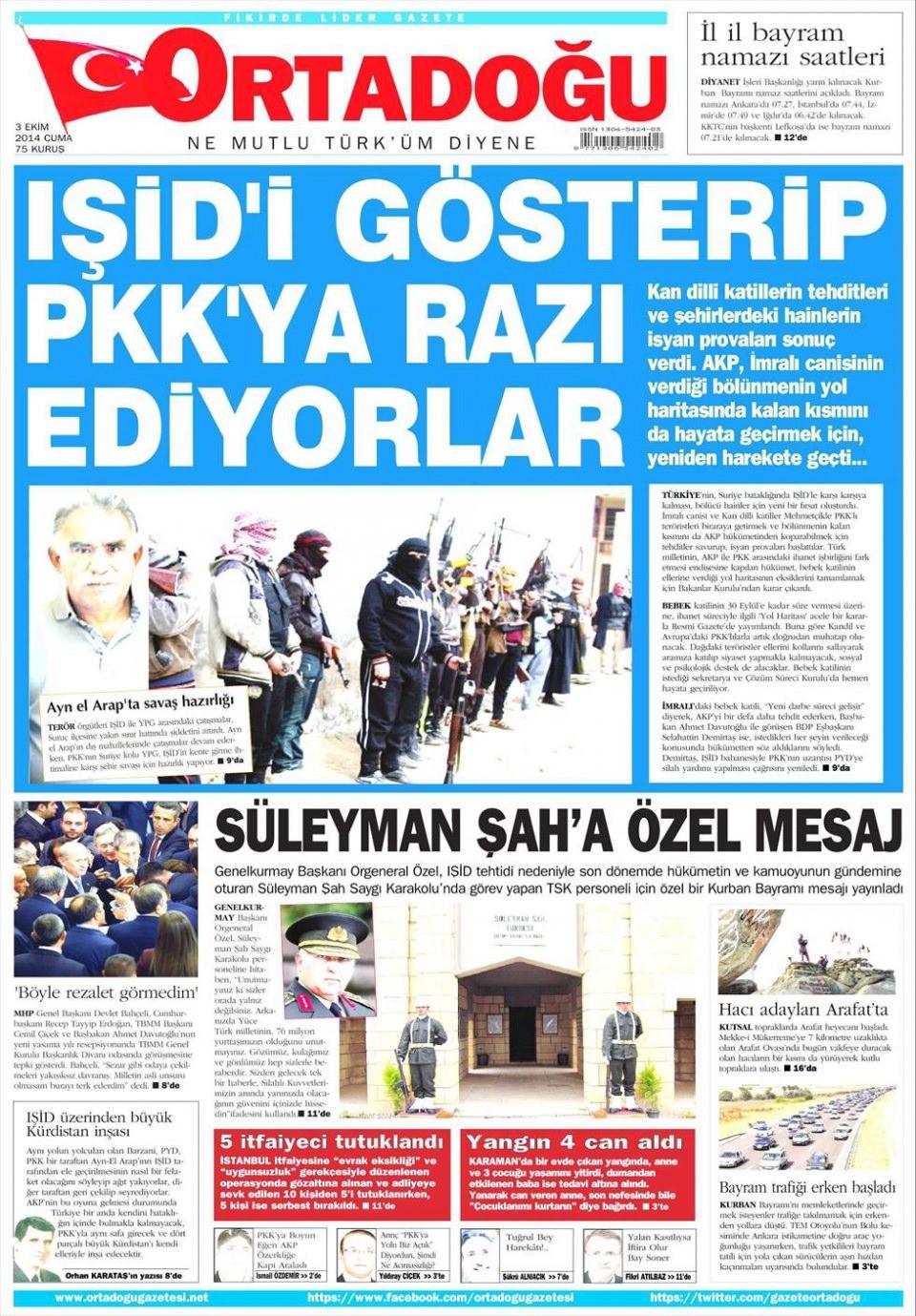 3 Ekim 2014 gazete manşetleri 13