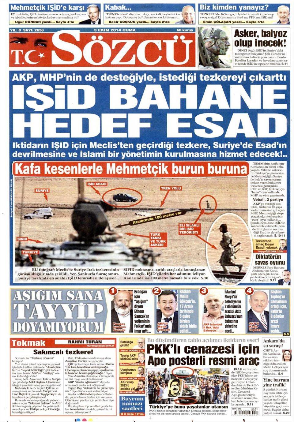 3 Ekim 2014 gazete manşetleri 16