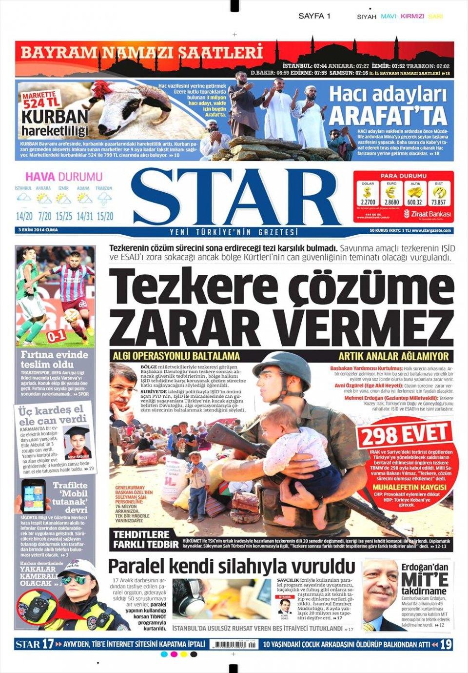 3 Ekim 2014 gazete manşetleri 17