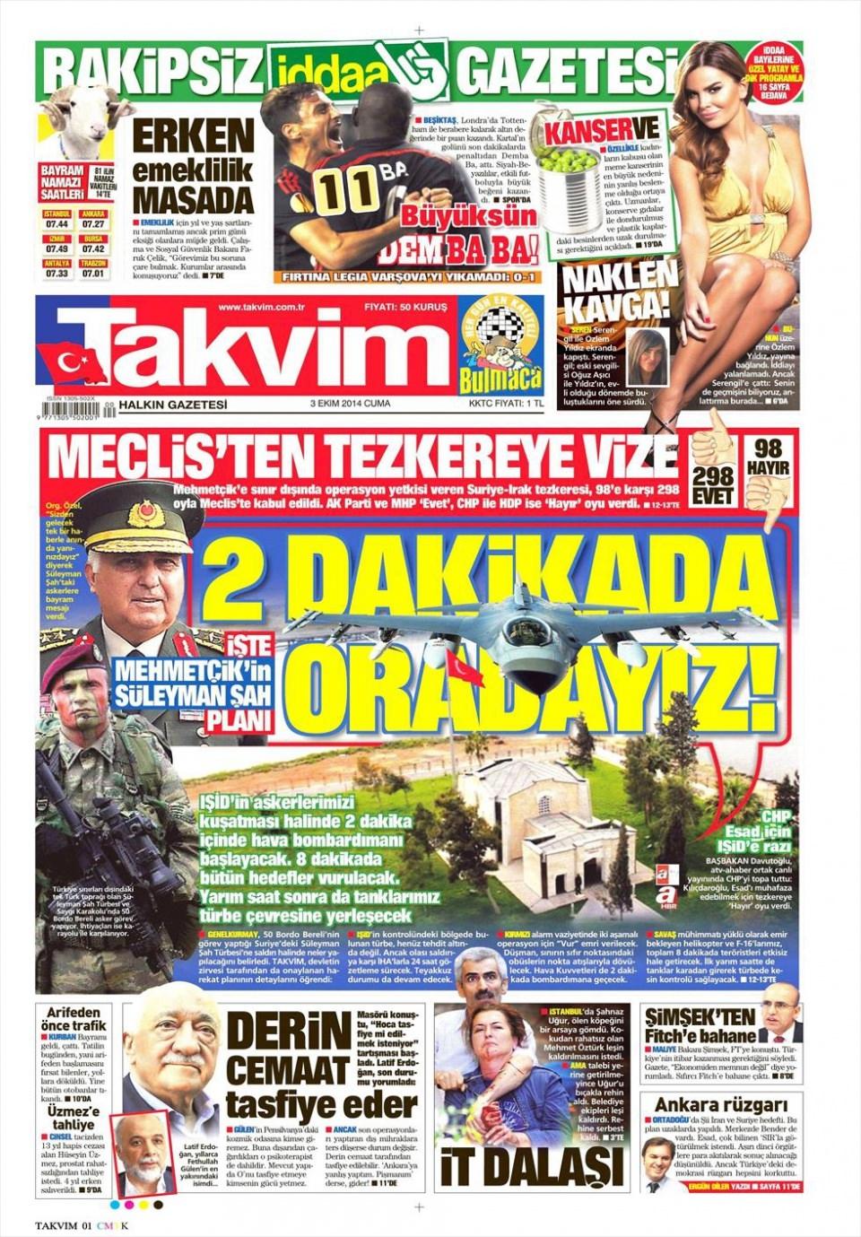 3 Ekim 2014 gazete manşetleri 18