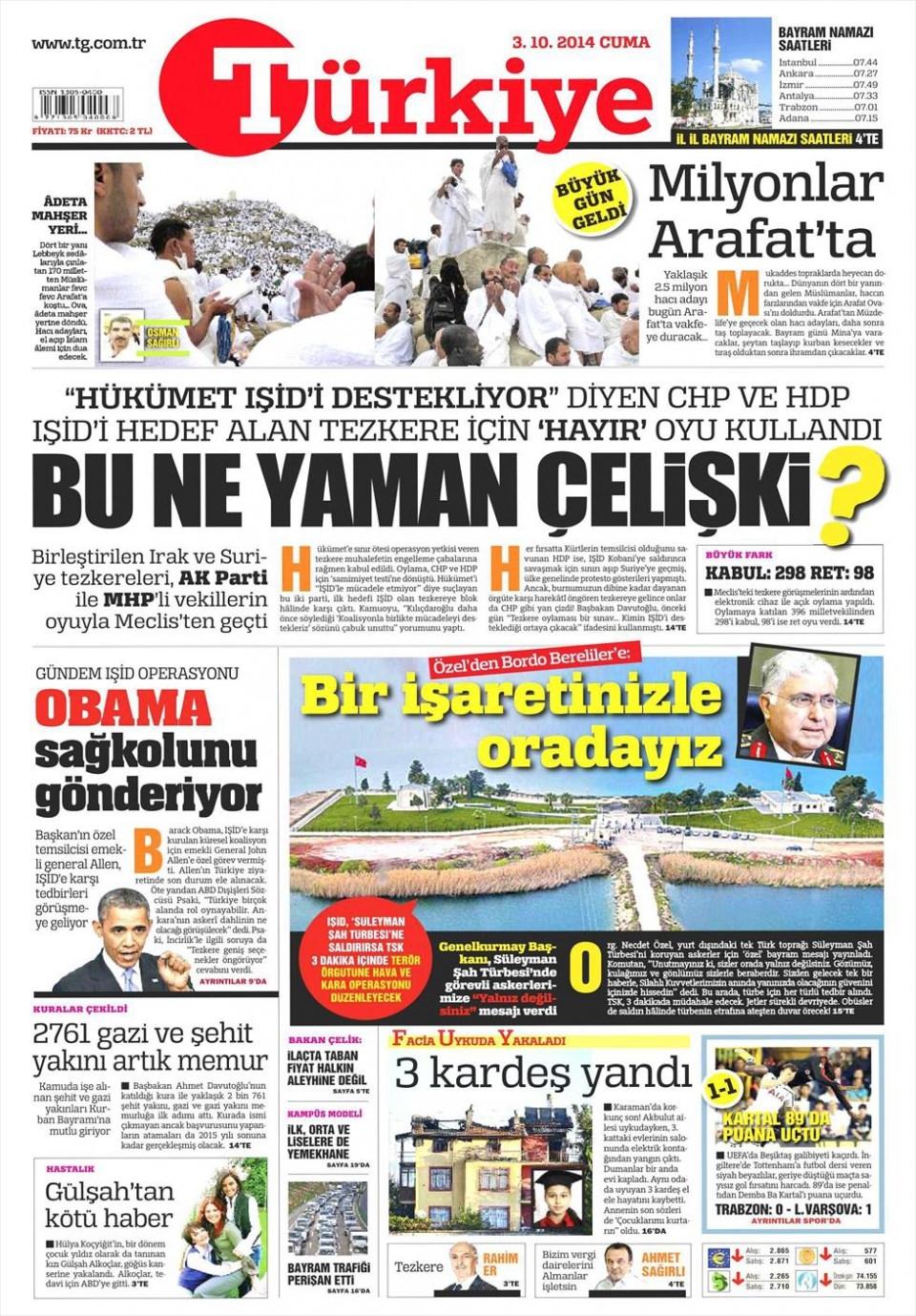 3 Ekim 2014 gazete manşetleri 20