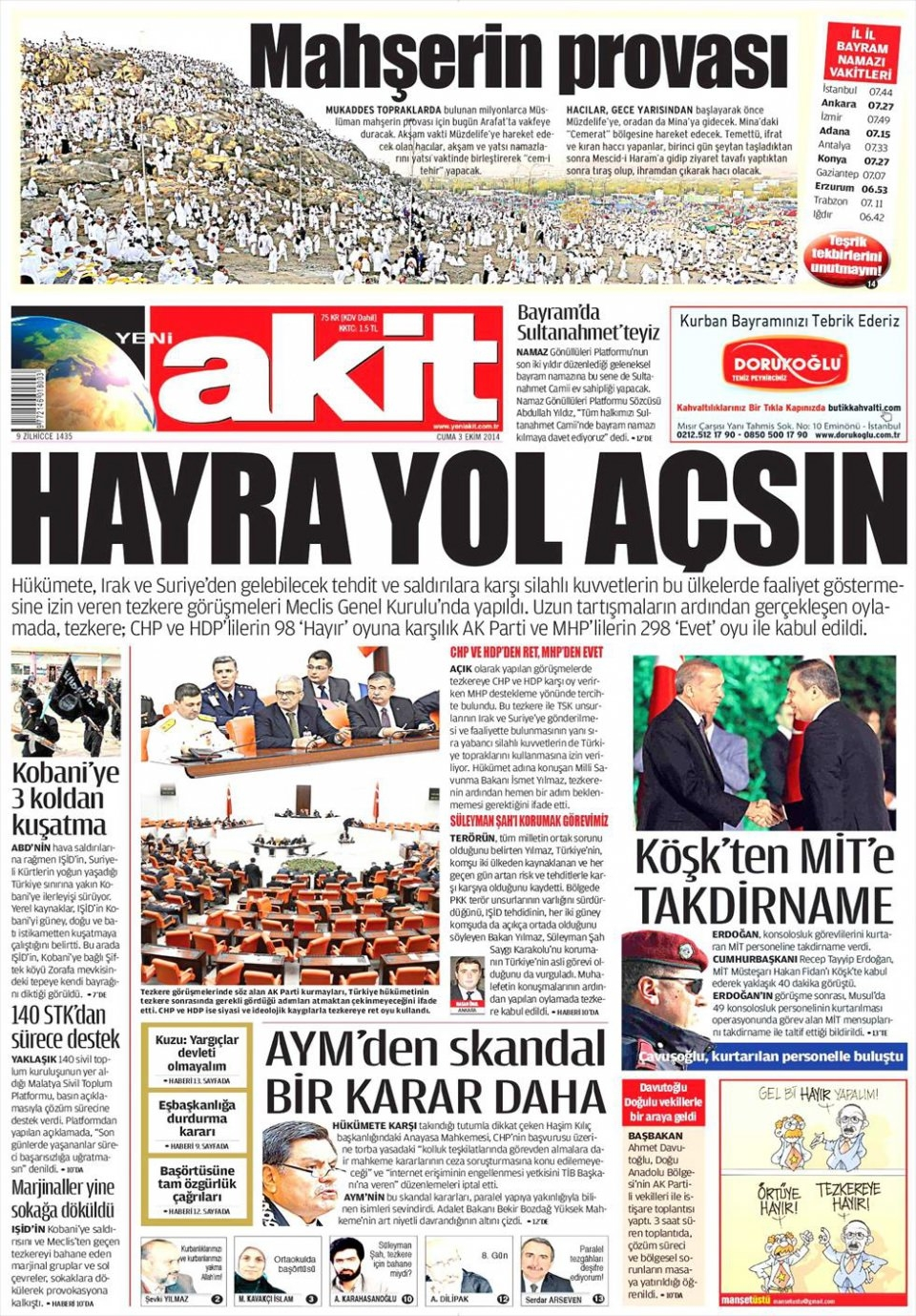 3 Ekim 2014 gazete manşetleri 22