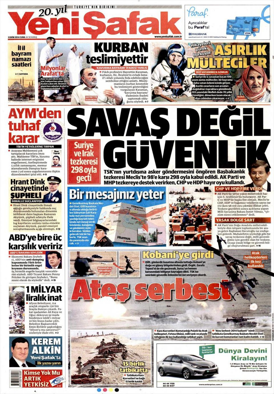 3 Ekim 2014 gazete manşetleri 24