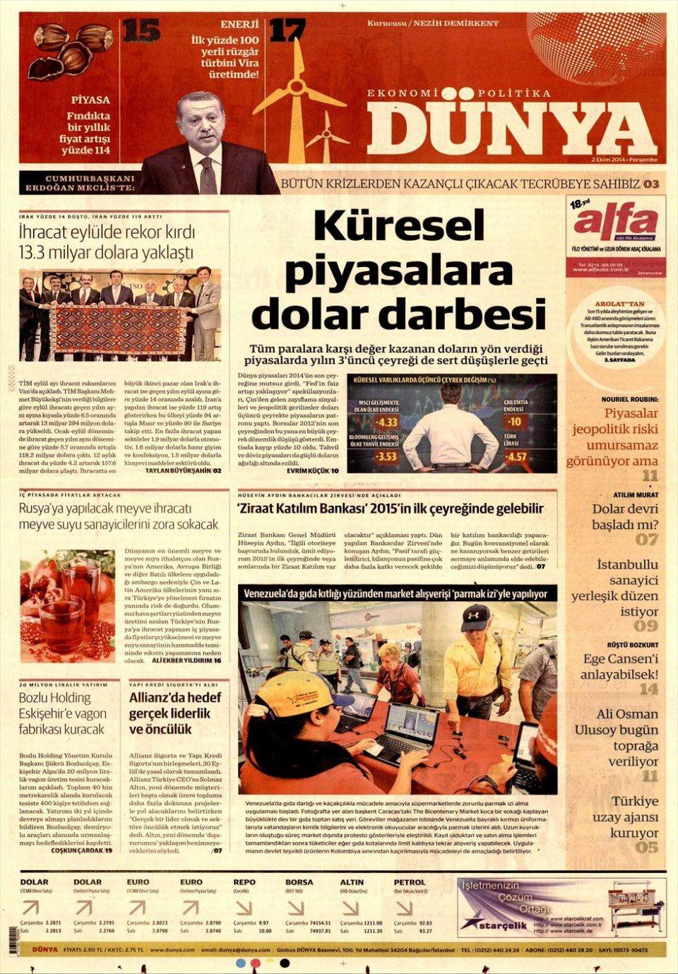 3 Ekim 2014 gazete manşetleri 5
