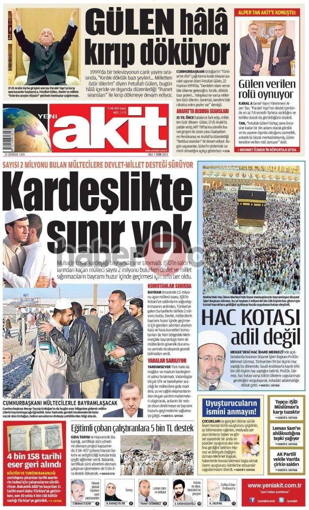 8 Ekim 2014 Günün gazete manşetleri 1
