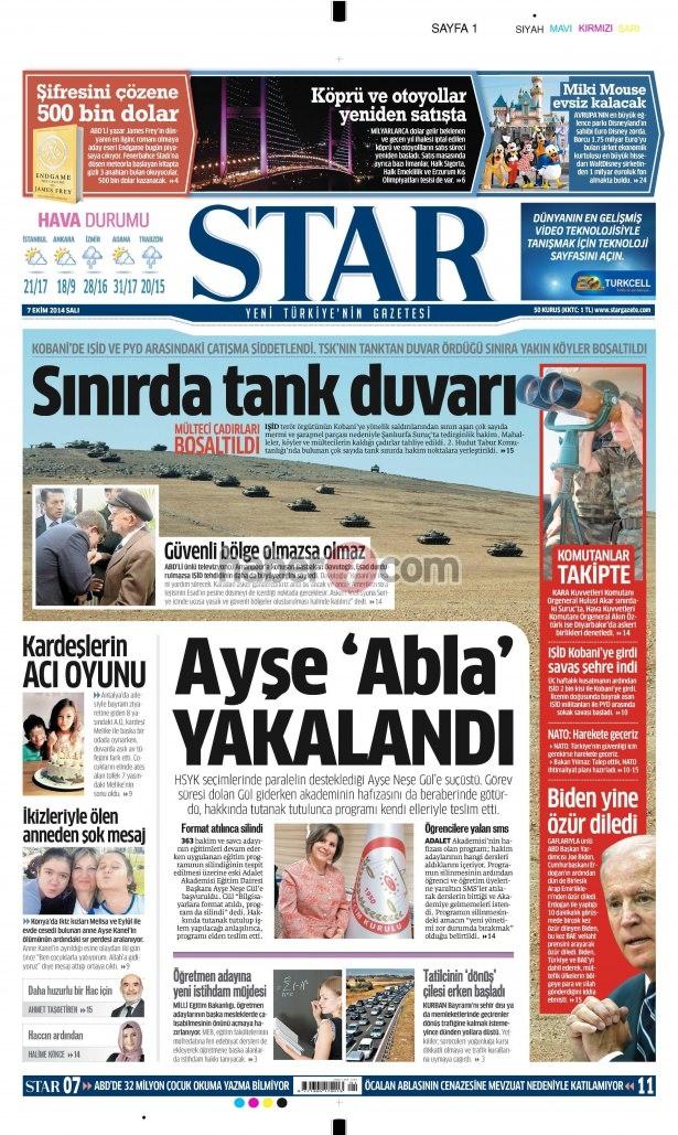 8 Ekim 2014 Günün gazete manşetleri 14
