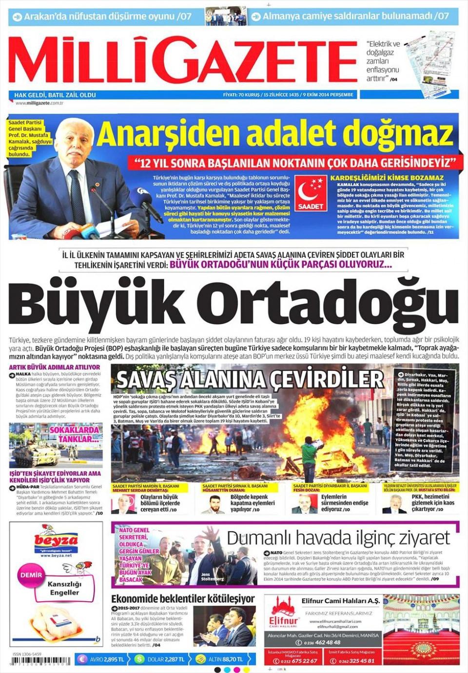9 Ekim Gazete Manşetleri 11