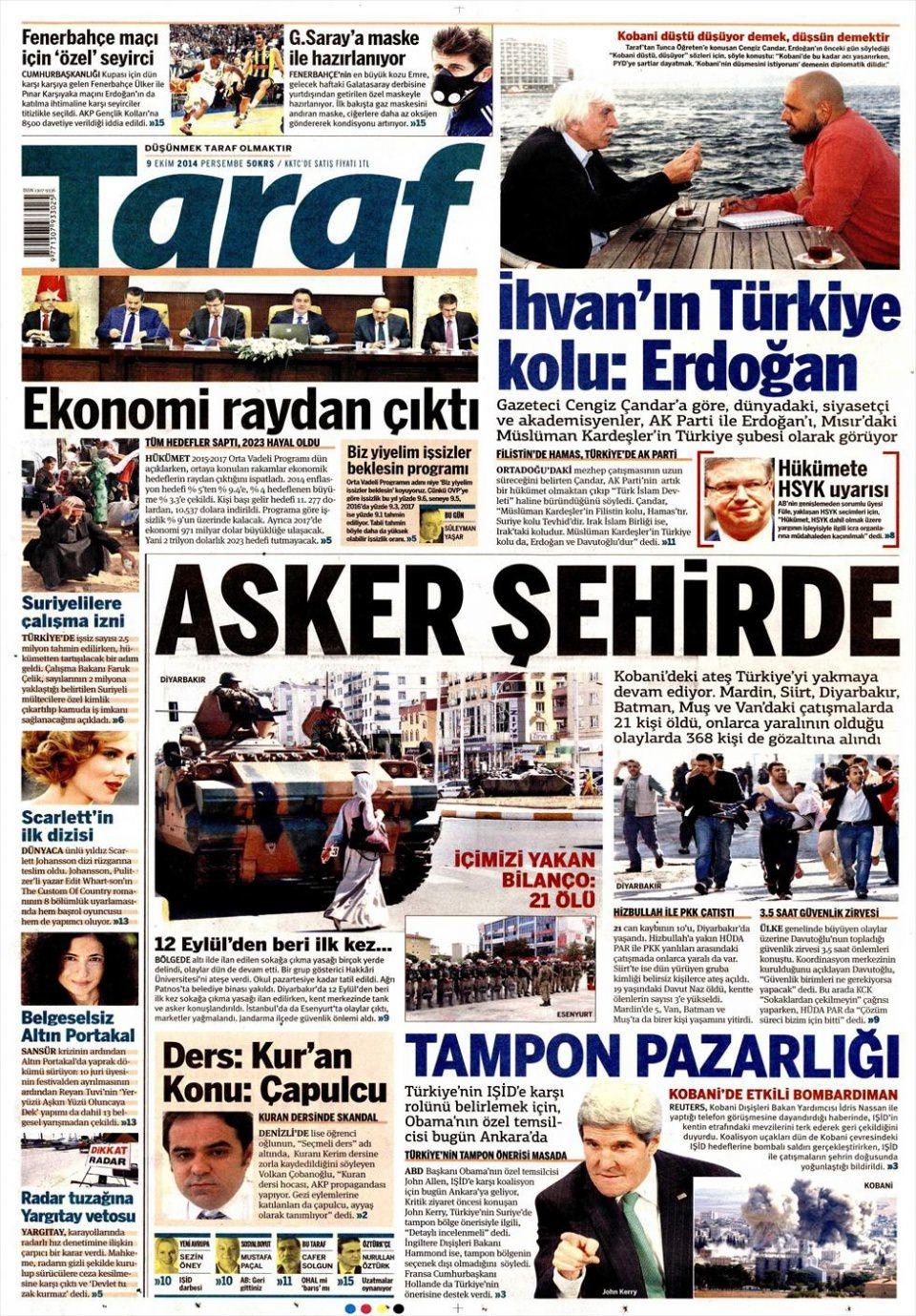 9 Ekim Gazete Manşetleri 19