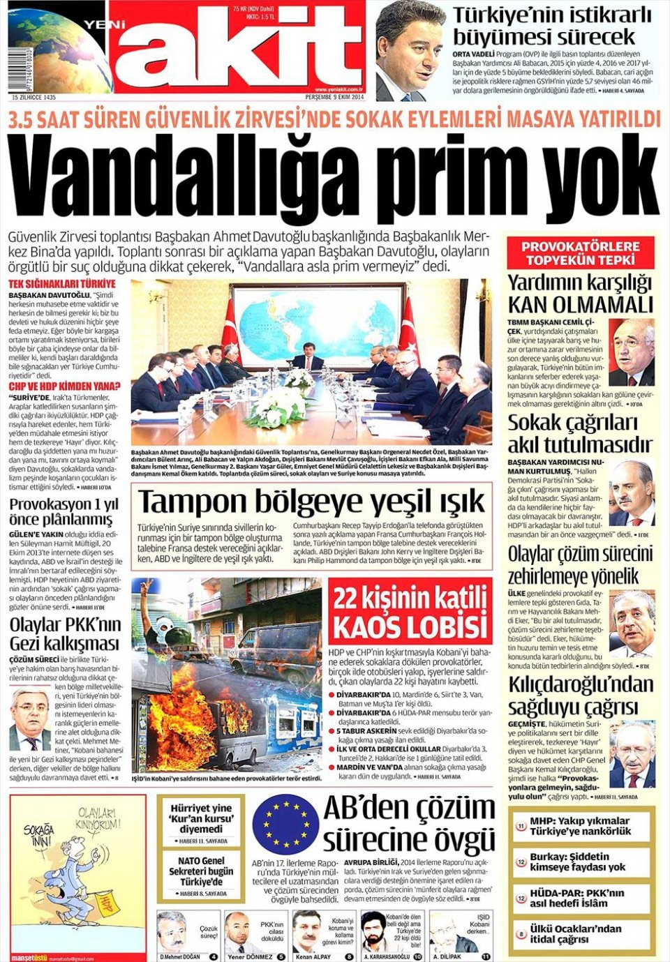 9 Ekim Gazete Manşetleri 22