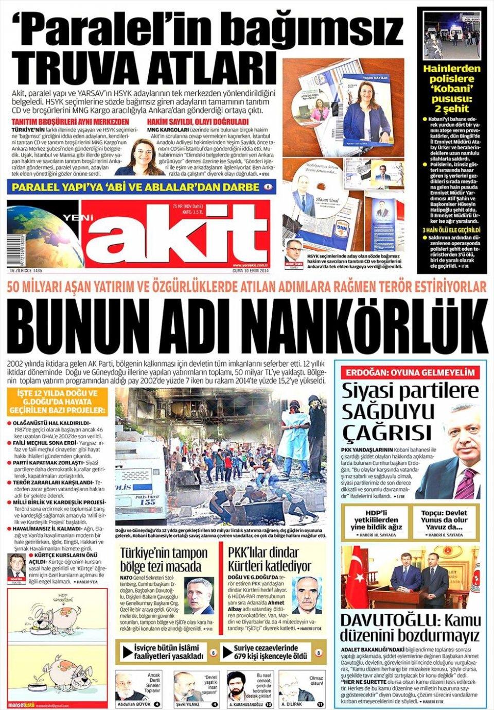 10 Ekim Gazete Manşetleri 1