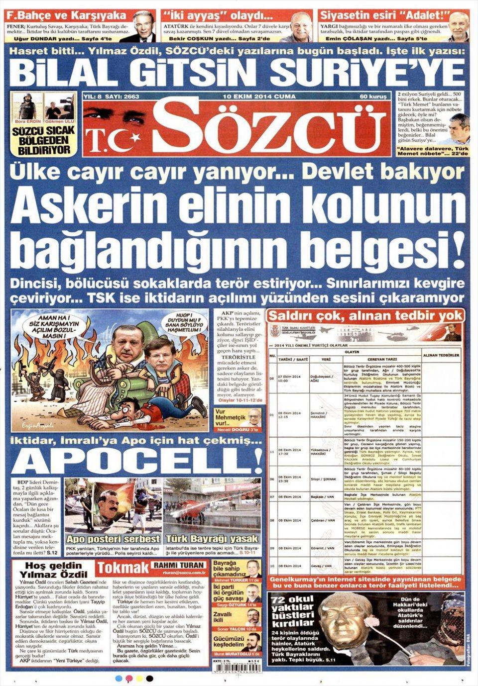 10 Ekim Gazete Manşetleri 16