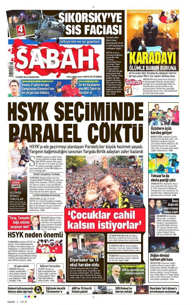 13 Ekim Gazete Manşetleri 14