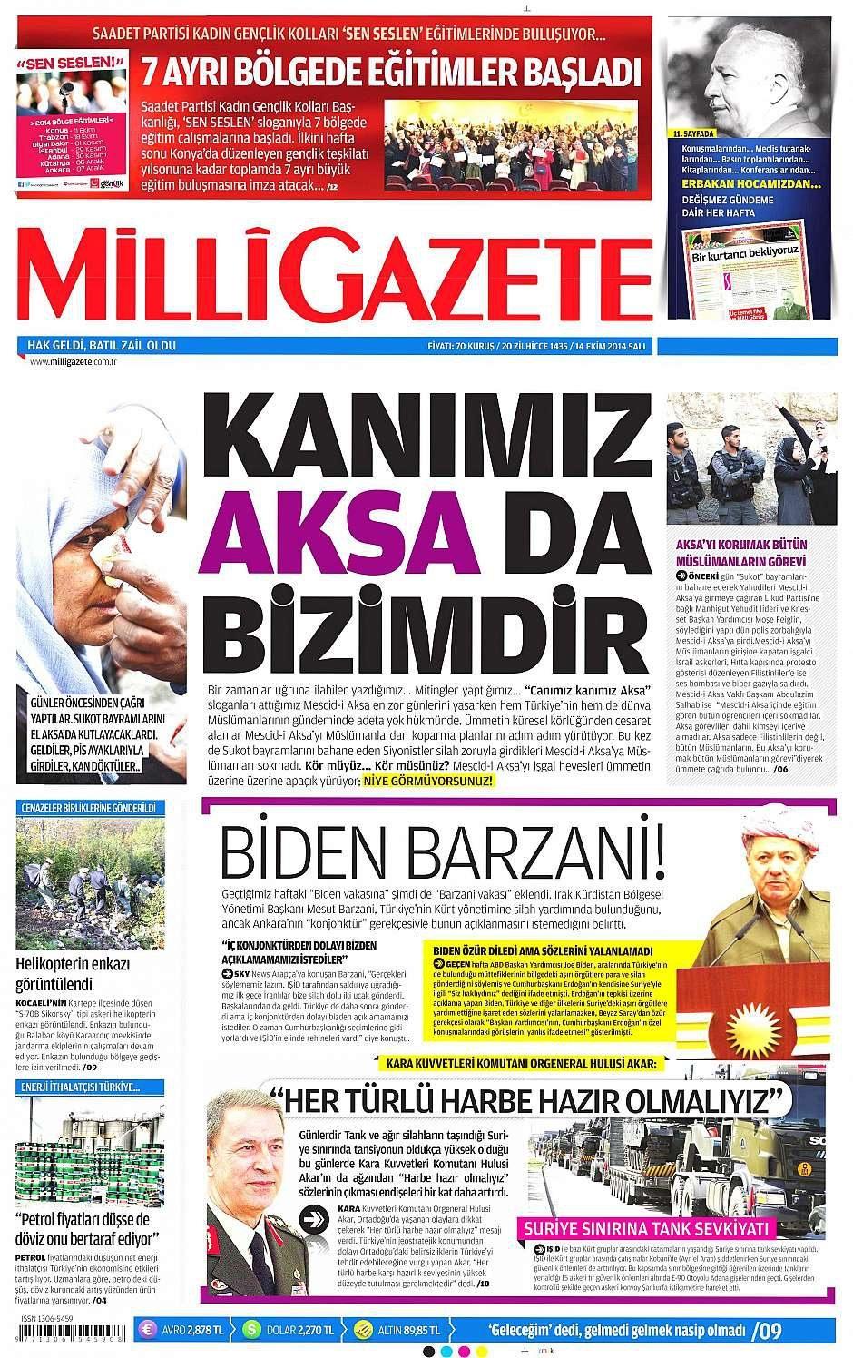 14 Ekim 2014 gazete manşetleri 15