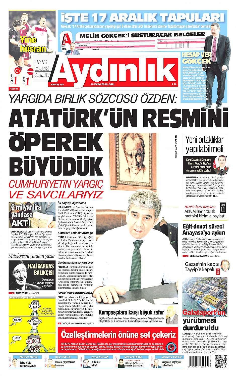 14 Ekim 2014 gazete manşetleri 21