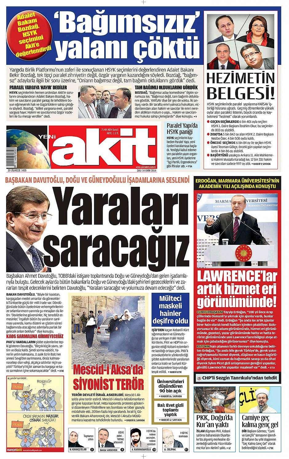 14 Ekim 2014 gazete manşetleri 22