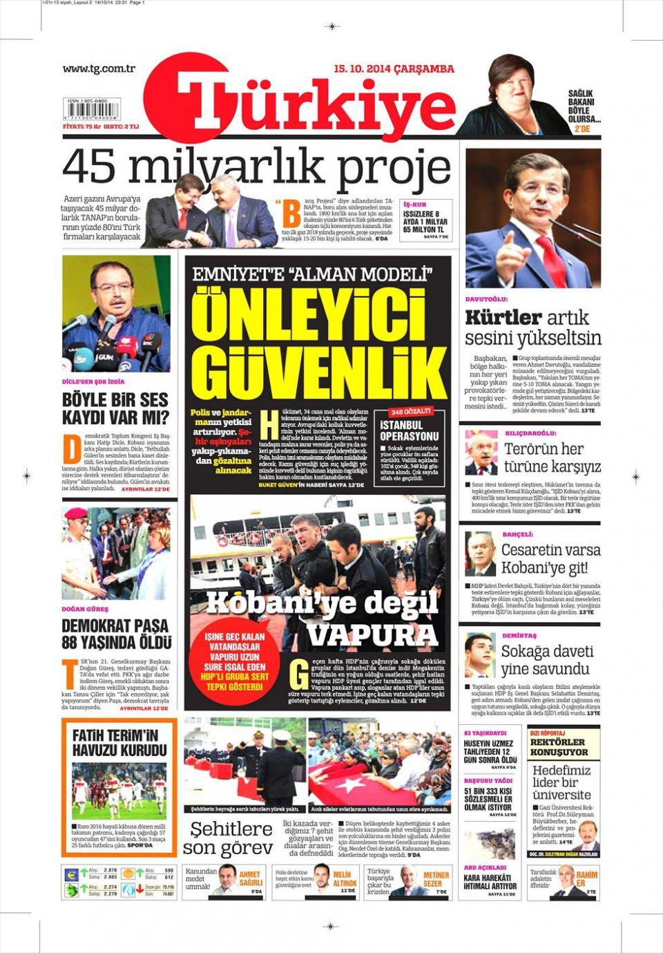 15 Ekim 2015 gazete manşetleri 19