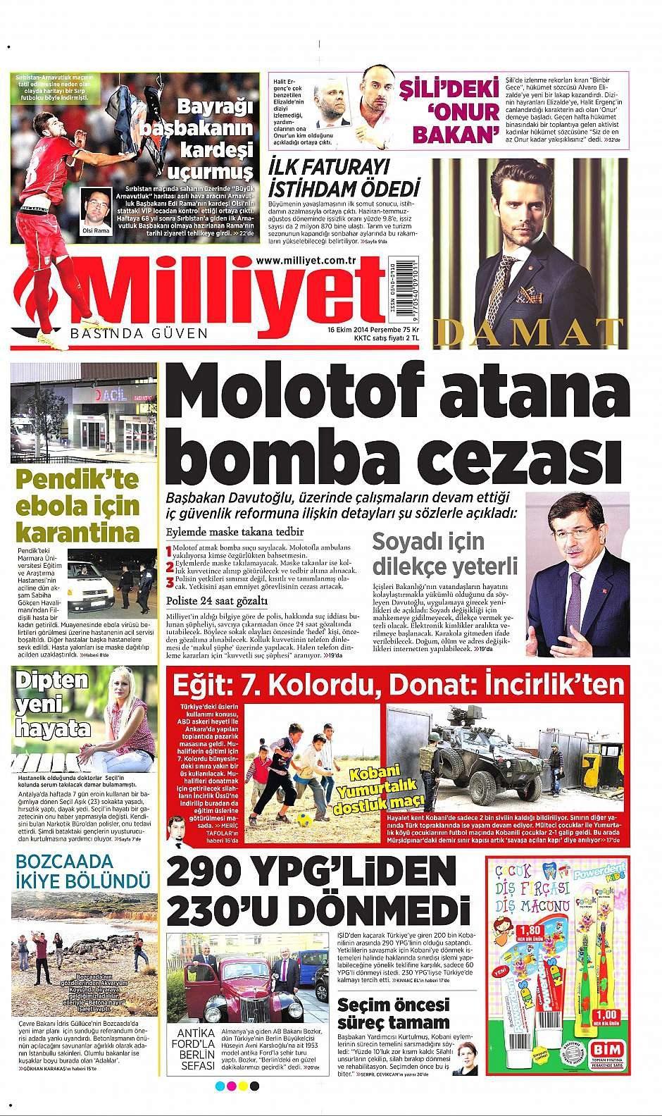 16 Ekim 2014 gazete manşetleri 1