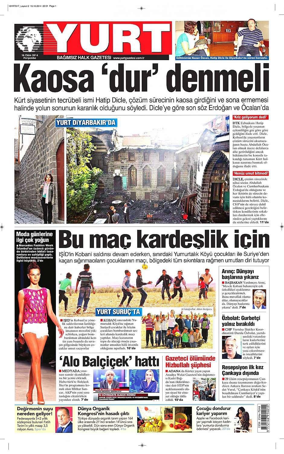 16 Ekim 2014 gazete manşetleri 22