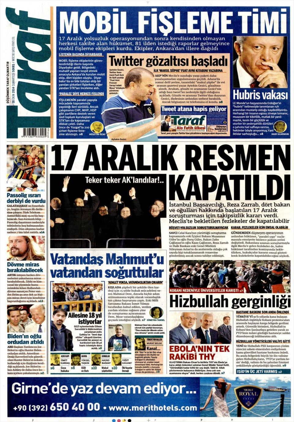 18 Ekim 2014 gazete manşetleri 19