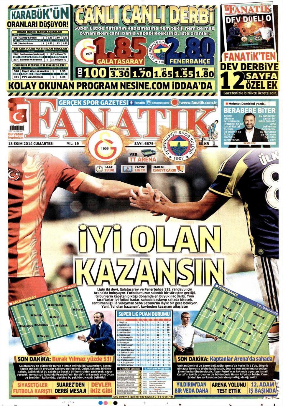 18 Ekim 2014 gazete manşetleri 6