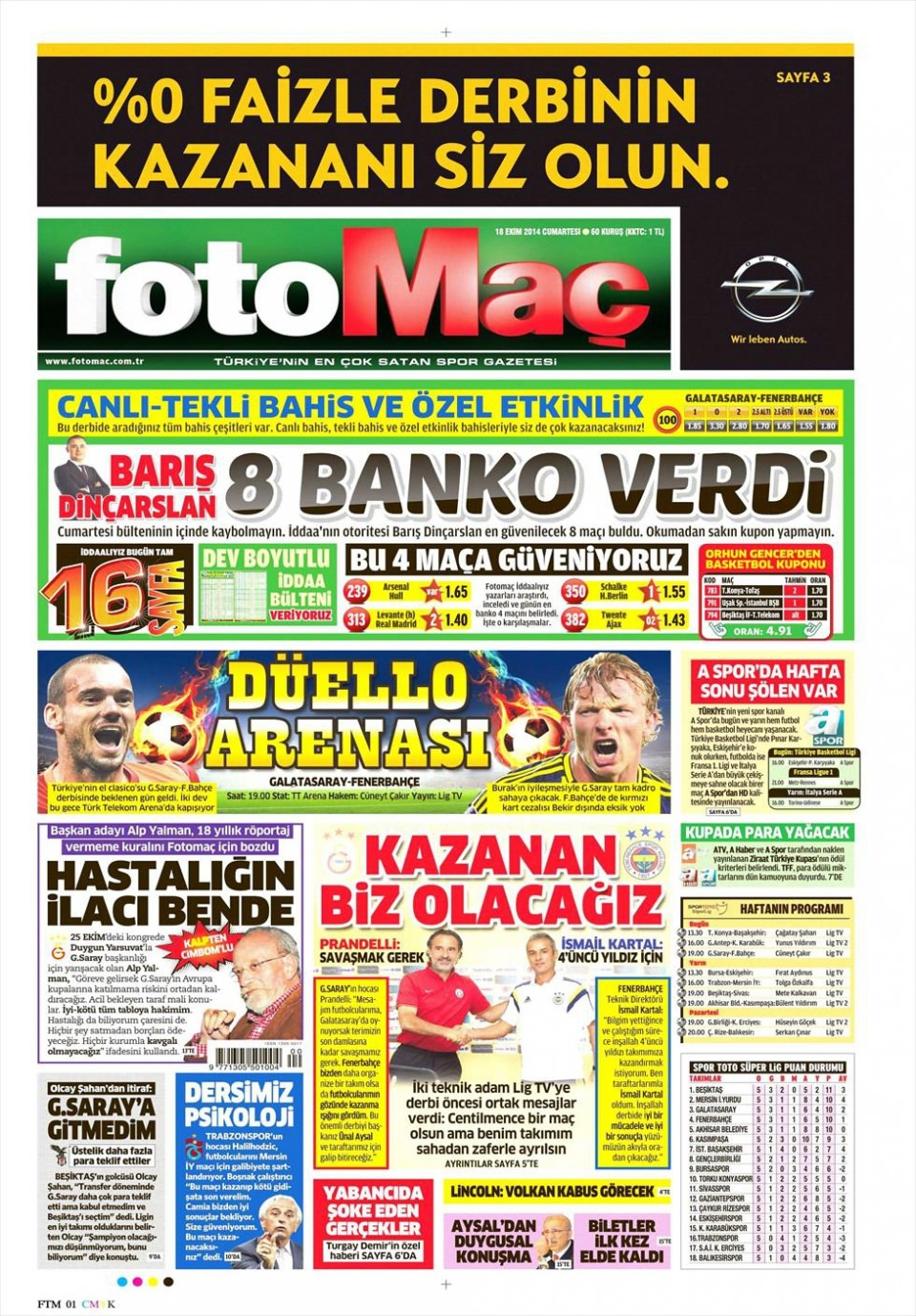 18 Ekim 2014 gazete manşetleri 7