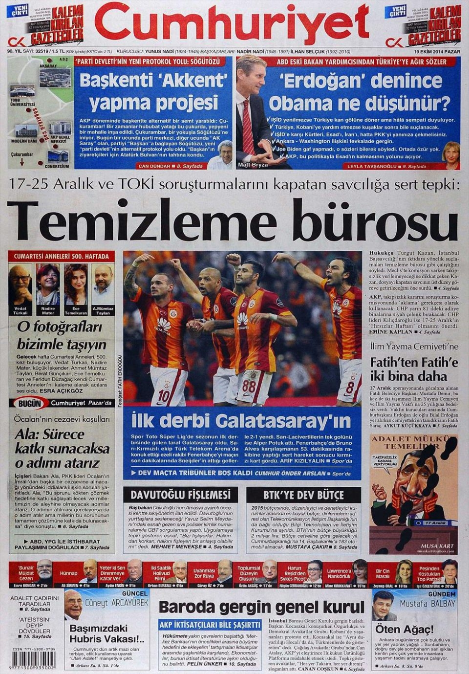19 Ekim 2014 gazete manşetleri 12