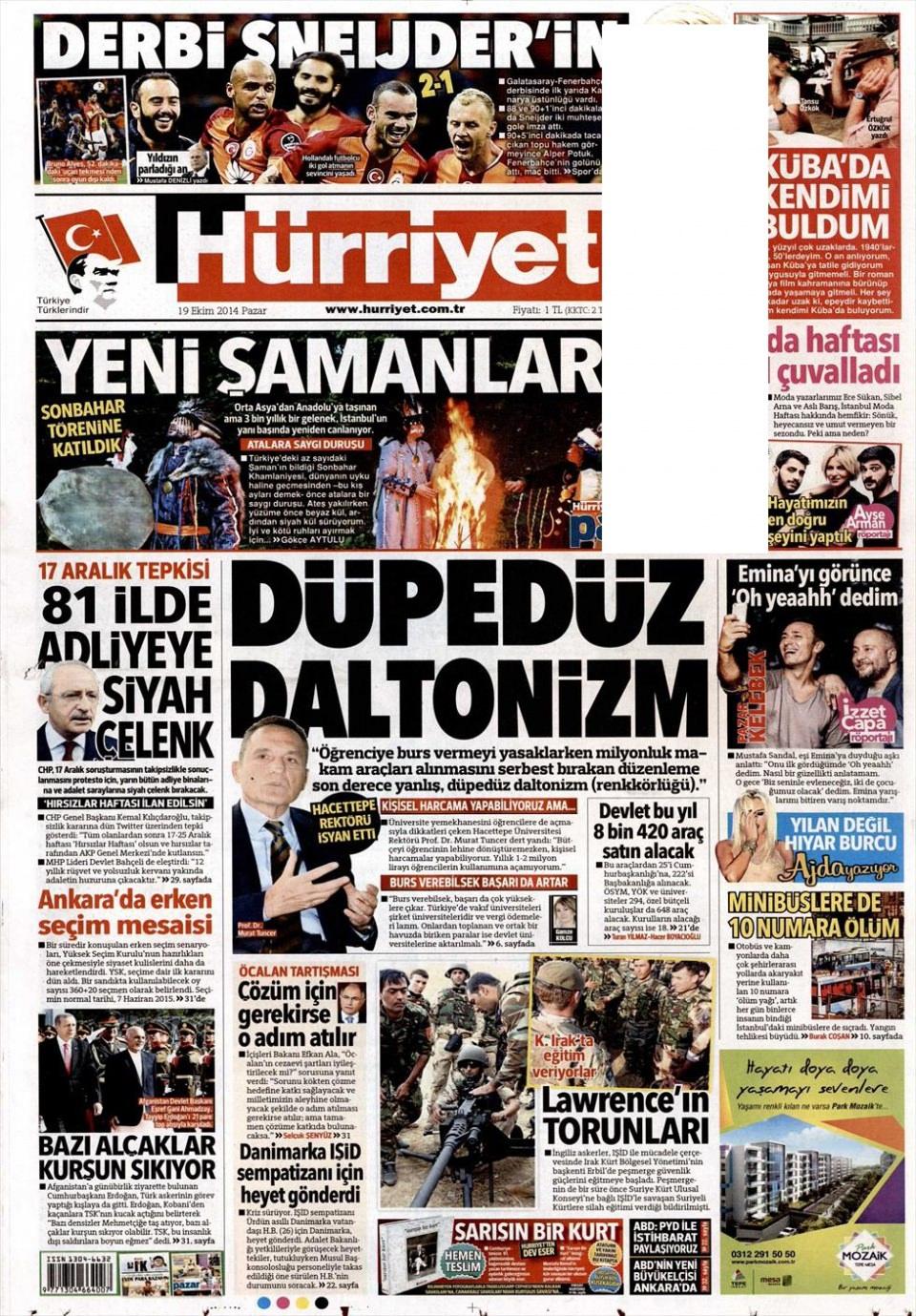 19 Ekim 2014 gazete manşetleri 15