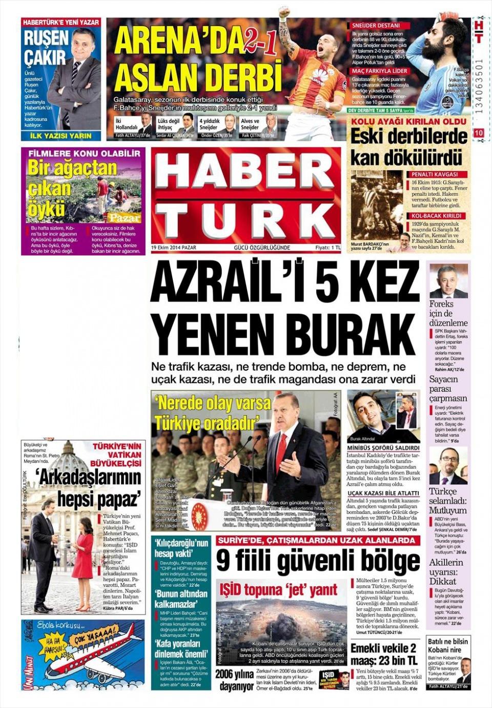19 Ekim 2014 gazete manşetleri 16
