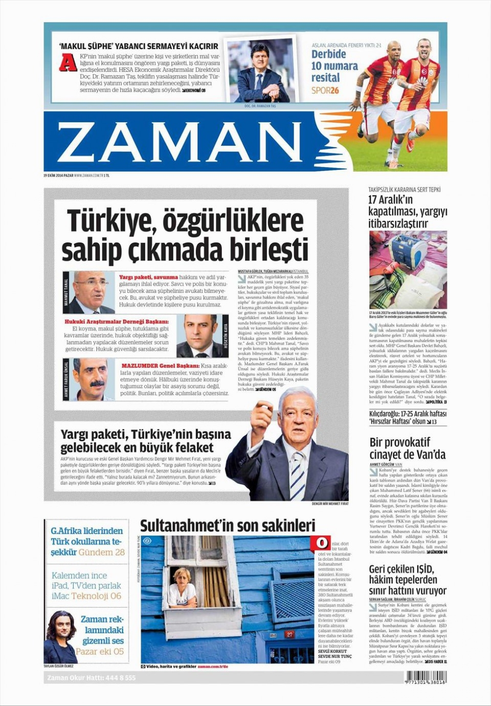 19 Ekim 2014 gazete manşetleri 19
