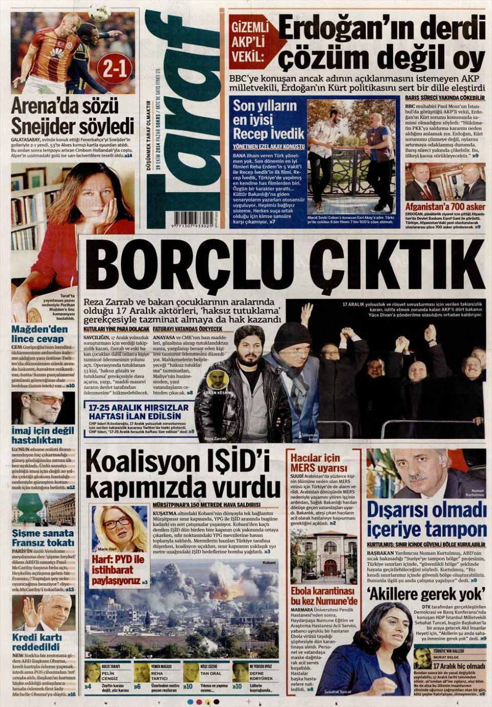 19 Ekim 2014 gazete manşetleri 3