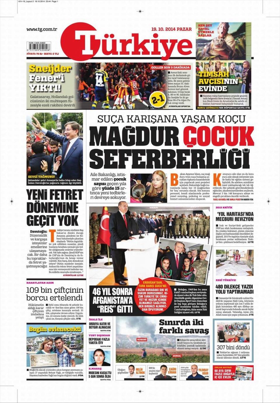 19 Ekim 2014 gazete manşetleri 9