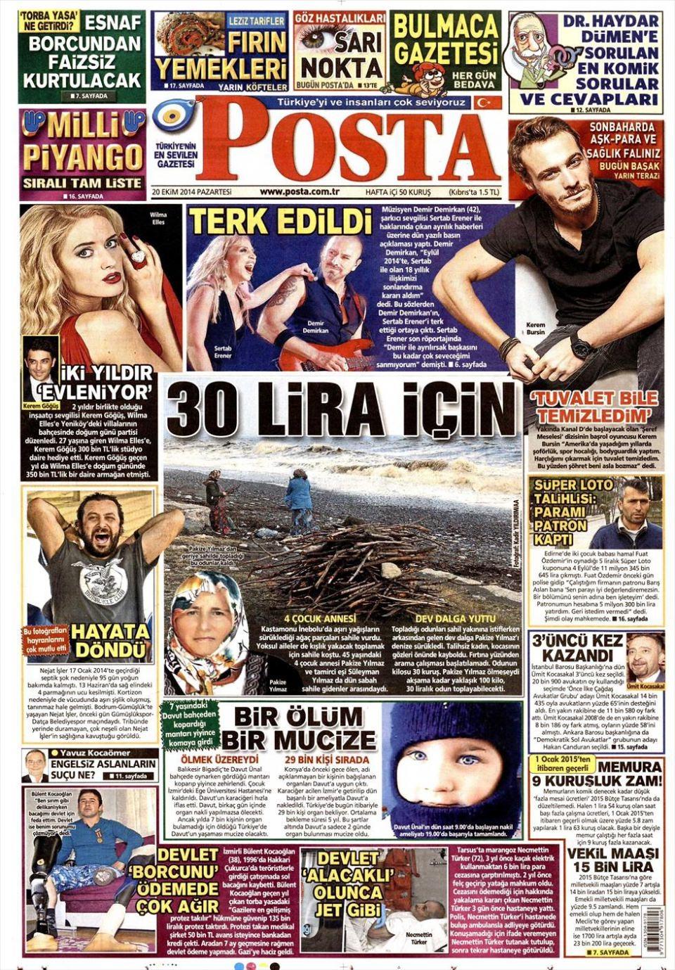 20 Ekim 2014 gazete manşetleri 14