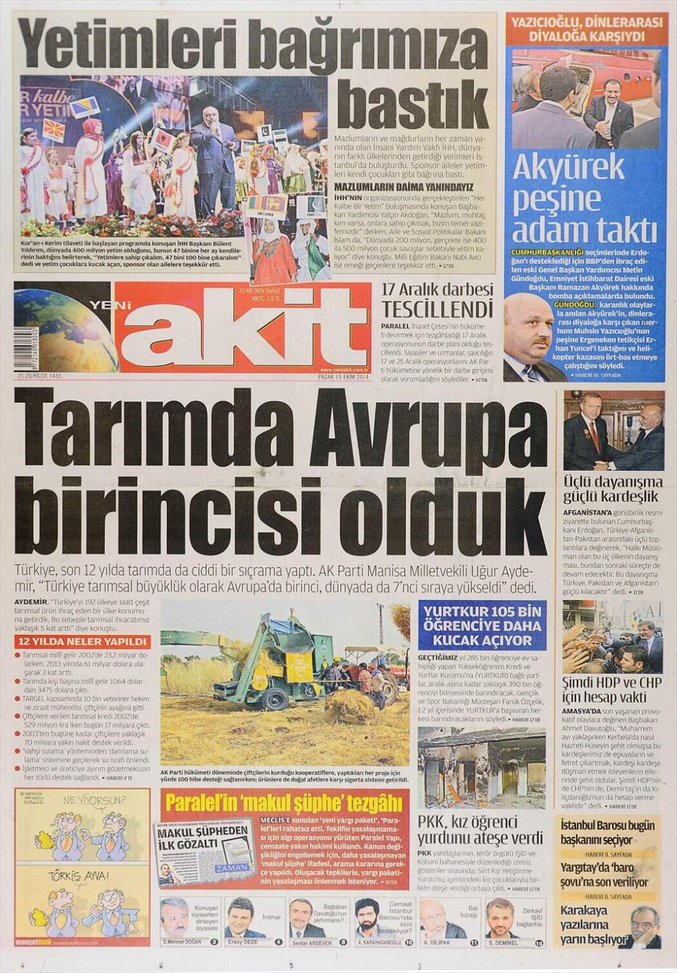 20 Ekim 2014 gazete manşetleri 22