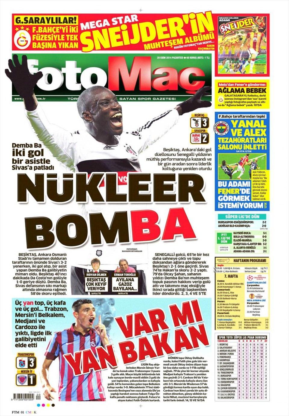 20 Ekim 2014 gazete manşetleri 7