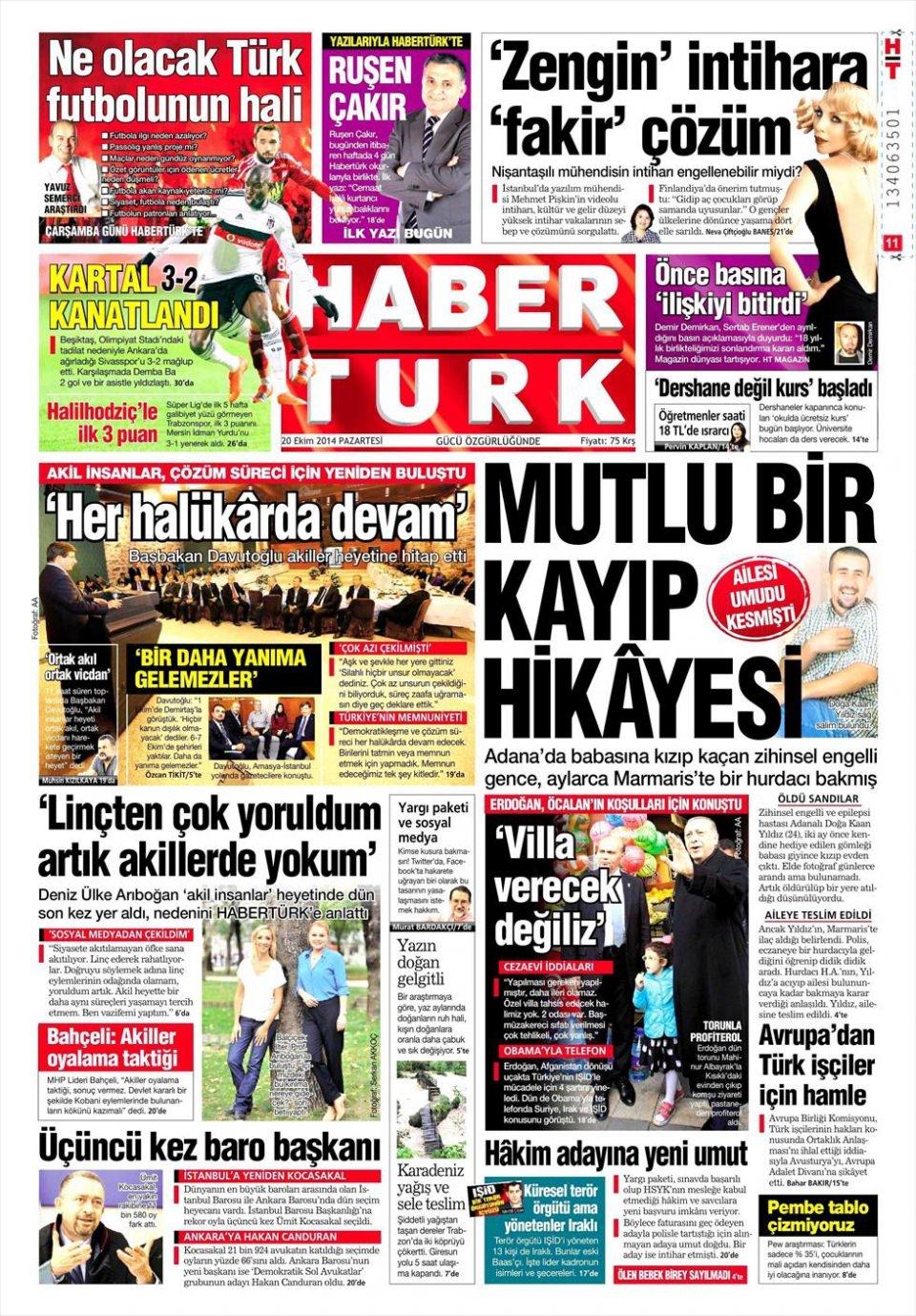 20 Ekim 2014 gazete manşetleri 9