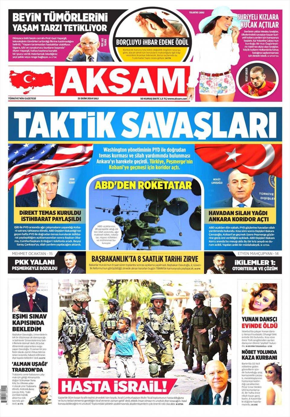 21 Ekim 2014 gazete manşetleri 1