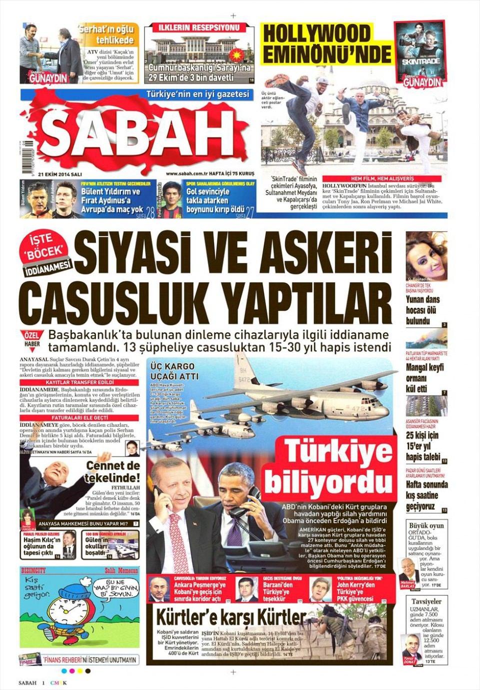 21 Ekim 2014 gazete manşetleri 14