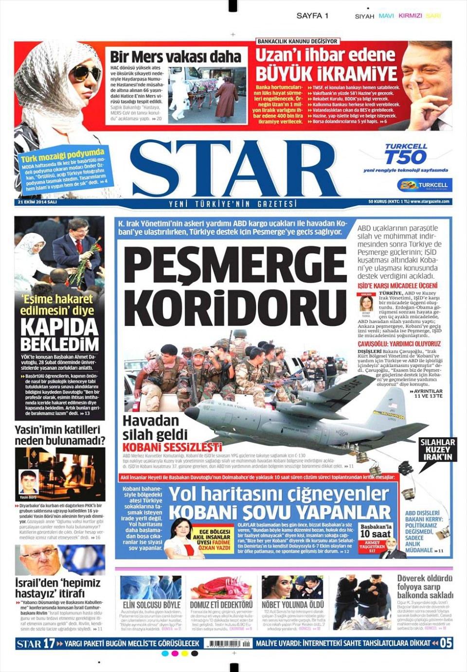 21 Ekim 2014 gazete manşetleri 16